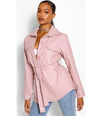 belted faux leather utility jacket, nude