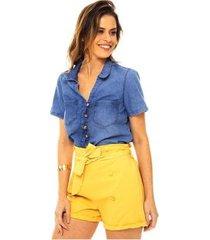 shorts sob algodão cintura alta soltinho bolsos e botões feminino