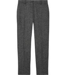 burberry tweed cropped tailored trousers - black