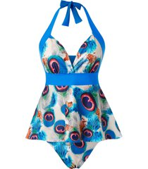plus size halter ruched peacock feather tankini swimwear