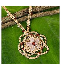 rose quartz and carnelian beaded pendant necklace, 'beach flower' (thailand)