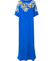 emilio pucci floral embroidered silk kaftan dress - blue