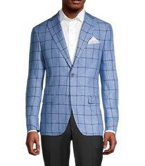 tallia men's regular-fit windowpane linen sport jacket - blue navy - size 40 r