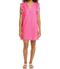 lilly pulitzer(r) astara eyelet shift dress, size small in prosecco pink neon geo eyelet at nordstrom