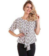 blusa kinara com faixa na cintura feminina