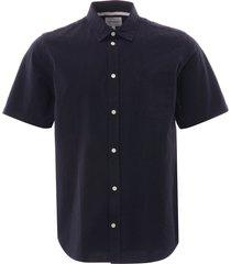 norse projects osvald seersucker shirt -   dark navy   n40-0478 7004
