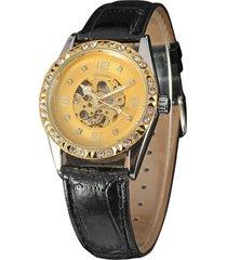 reloj mecánico winner para mujer, anillo de piña con