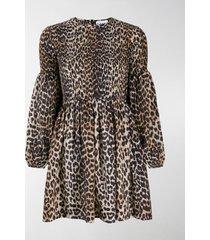 ganni leopard print long-sleeve dress