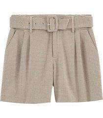 hundtandsmönstrade shorts med bälte