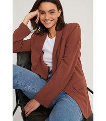 na-kd classic klassisk blazer - brown