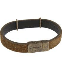 saint laurent logo plaque belt bracelet