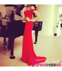 elegant sheath off the shoulder red chiffon prom gown sexy evening/party dresses