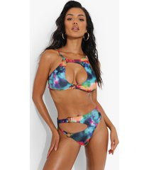 marmerprint bikini top met uitsnijding en o-ring, multi