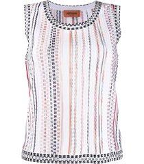missoni fine knit patterned vest - white