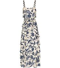 johanna ortiz cat goddess floral ruffle maxi-dress - white