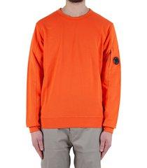 diagonal fleece lens crew sweater - orange