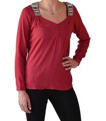 blusa aplic mostacilla rojo alexandra cid