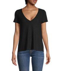 johnny becca women's hacci v-neck cotton top - black - size xs