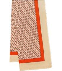 burberry monogram print lightweight cashmere scarf - red