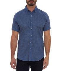 men's robert graham porcaro short sleeve linen blend button-up shirt, size large - blue