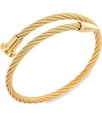 eye candy la men's leo goldtone titanium cable spike cuff bracelet