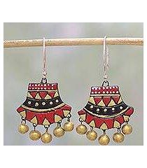 ceramic dangle earrings, 'midnight royalty' (india)