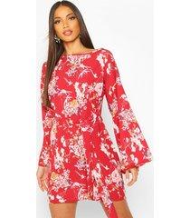 floral print belted shift dress, rust