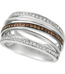 le vian chocolatier diamond multi-band crisscross ring (3/8 ct. t.w.) in 14k white gold