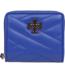 tory burch kira chevron leather wallet color blue