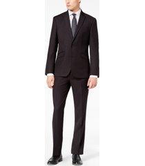kenneth cole reaction men's ready flex slim-fit stretch black tic suit
