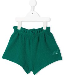 bobo choses stitched duck detail shorts - green