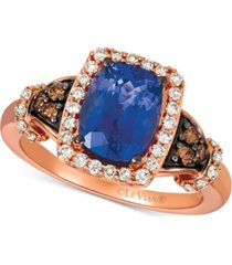 le vian blueberry tanzanite (2 ct. t.w.), nude diamonds (1/3 ct. t.w.) & chocolate diamonds (1/8 ct. t.w.) ring set in 14k rose gold