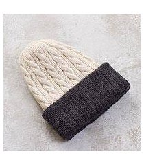 reversible 100% alpaca hat, 'warm and contented' (peru)