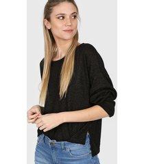 sweater negro nano lurex cuello u pq40
