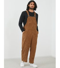 yoins basics hombres moda corduroy color sólido agujero bolsillo suspender mono