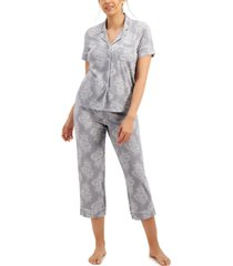 charter club short sleeve top & capri pants pajama set, created for macy's
