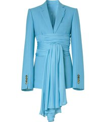 burberry jersey sash detail tailored jacket - blue