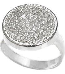 anel prata mil redondo de prata c/ zircônia prata