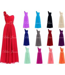 2017 new long chiffon bridesmaid prom dress one shoulder formal evening gown6-22