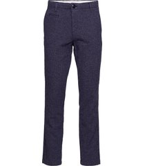 chuck papita checked stretched pant kostuumbroek formele broek blauw knowledge cotton apparel