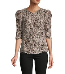 ruched leopard-print silk top