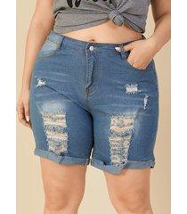 plus shorts de mezclilla con diseño de bolsillo de tamaño