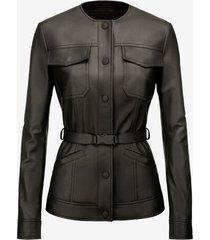 belted nappa jacket black 38