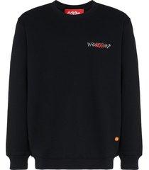 032c logo crew-neck cotton sweatshirt - black