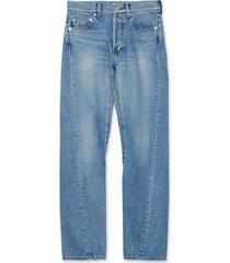 light indigo raw hem jeans
