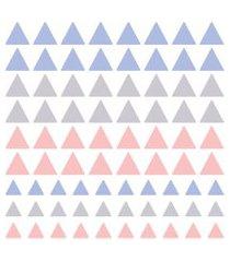 adesivo de parede triangulos cinza, azul e rosa 91un