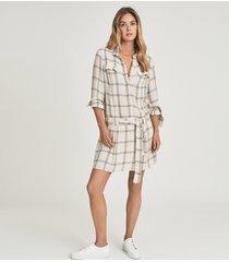 reiss dasha - checked shirt dress in grey/white, womens, size 14