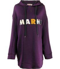 marni logo patch jumper dress - purple