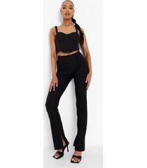 geweven stretch broek met naaddetail en split, black