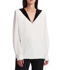 bi-color padded shoulder silk blouse